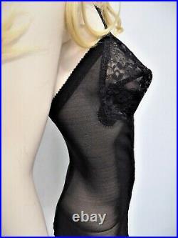 Vtg 60s blk Charmode all in one bra corset 6 garters open bottom wonderspan 38B
