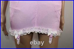 Vtg Baby Pink Playtex Open Bottom Girdle Corselette 4 Suspender 42d