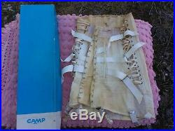 Vtg Corset CAMP Fan Lace Dress Girdle Garter Open Bottom Metal Boning Back Brace
