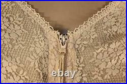 Vtg Nude Zip Open Bottom Girdle Corselette Nylon & Lace, 4 Suspenders Size 44d