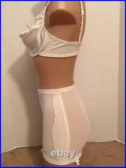 Vtg OLGA Open BOTTOM Mini GIRDLE Garters Suddenly Slim LARGE + BRA 38D Lot Lace