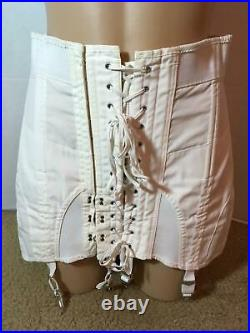 Vtg OPEN BOTTOM GIRDLE CORSET Garters Size 32 XL Sears Laces-Up Polyester/Cotton