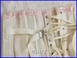 Vtg OPEN BOTTOM GIRDLE CORSET Garters Size L XL Brocade White Pink Fan Lacing