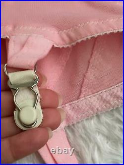 Vtg Pink OPEN BOTTOM Shaper GIRDLE 6 GARTERS BRA lot Size Medium M Small 34D