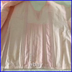 Vtg Pink PANEL & Lace Open BOTTOM GIRDLE Corset 6 GARTERS By Rite Form Size XXL