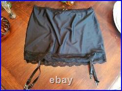 Vtg Plus Sz Black Open Bottom Girdle Shaper Metal Tab Garter sz 5X PINUP Lace