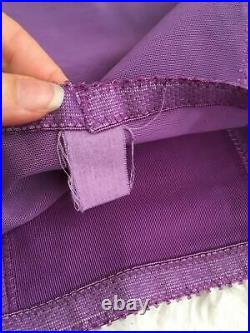 Vtg Purple SATIN PANEL Open Bottom Girdle Garters Size Medium M Small
