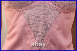 Vtg Rose Pink Open Bottom Girdle Corselette 4 Suspender 42b 18