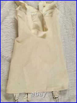 Vtg SATIN CORSELETTE Garters Open Bottom Girdle 34A Chiffon Lace Adonna Penneys