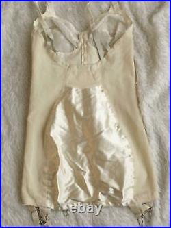 Vtg SATIN CORSELETTE Garters Open Bottom Girdle PRIMROSE 34B Chiffon Embroidered