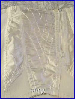 Vtg SATIN PANELS Open Bottom GIRDLE 6 Garters Large L Medium M White