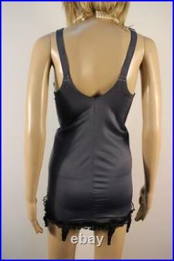 Vtg Slate Open Bottom Girdle Satin Nylon & Lace Corselette 8 Suspender 42c 20
