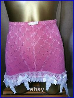 Vtg Style Girdle Open Bottom Rose Pink Waist Size 31-32 #195
