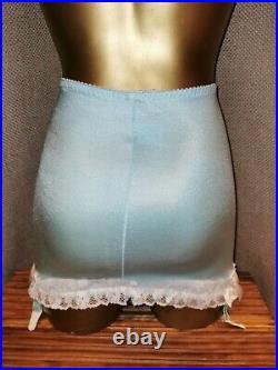 Vtg Style Pantie Girdle Open Bottom Aqua Blue Waist Size 27-28 #4