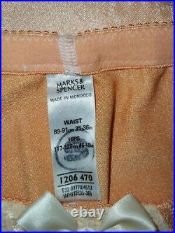 Vtg Style Pantie Girdle Open Bottom Peach By M&s Waist Size 35-36 # 29