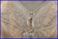 Vtg Triumph Zip Front, Open Bottom Girdle Glossy Nylon 4 Suspenders Size 44c