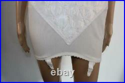 Vtg White Satin Open Bottom Girdle Corselette 4 Suspender 46d 22-24