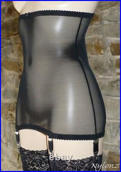 Vue Vintage Style 6 Strap Retro Girdle Black NYLONZ