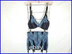 WHAT KATIE DID Blue Lace Bra 36D & Open Bottom Girdle US8 Clip Isabella Repro